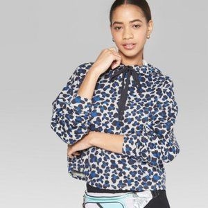 Wild Fable Leopard Cropped Hoodie Blue Medium